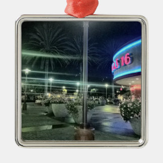 The Bright Lights of the Movie Theater at Night Silver-Colored Square Ornament