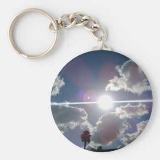 The Bright Sun Shining Through the Silver Clouds Keychain
