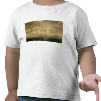 The British and American Fleets Engaged on Lake Bo T Shirt