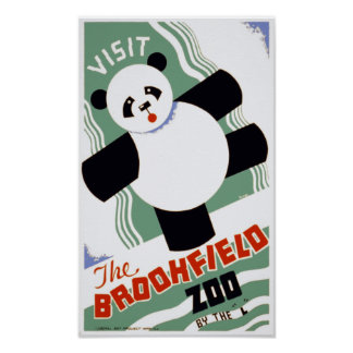 The Brookfield Zoo Panda Vintage WPA Posters
