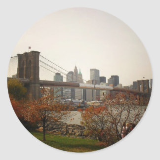 The Brooklyn Bridge and Autumn Trees, NYC Round Sticker