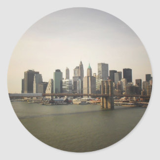 The Brooklyn Bridge and the New York City Skyline Round Sticker