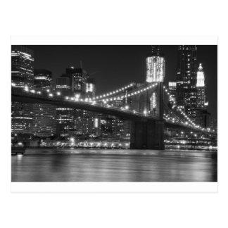 The Brooklyn Bridge - Black and White Postcard