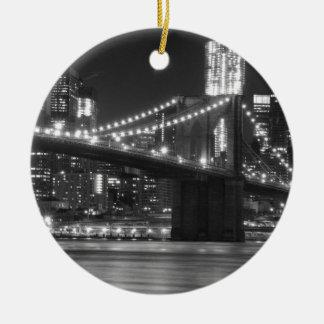 The Brooklyn Bridge - Black and White Round Ceramic Ornament