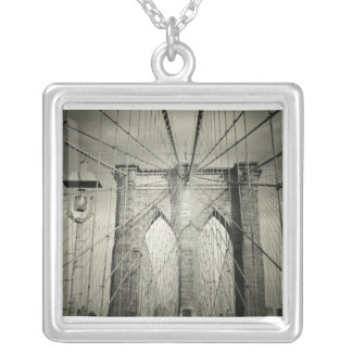 The Brooklyn Bridge in Black and White, NYC Silver Plated Necklace