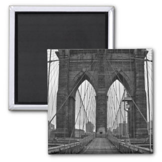The Brooklyn Bridge in New York City Square Magnet