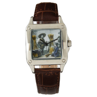 The Broom Merchant of Old Japan Vintage Japanese Wrist Watch