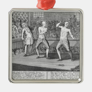 The Bruiser Bruis'd, Or, the Knowing-Ones Silver-Colored Square Ornament