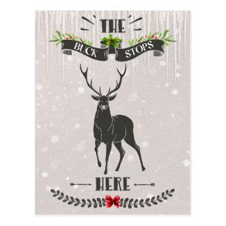 The Buck Stops Here Merry Christmas Deer Postcard