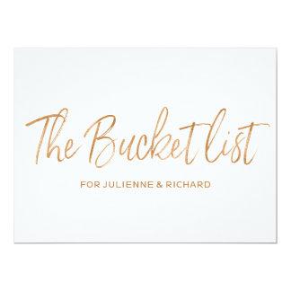 """The bucket list"" Wedding Stylish Gold Rose Sign Card"
