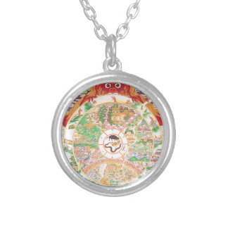 The Buddhist Wheel of Life Silver Plated Necklace