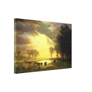 The Buffalo Trail Albert Bierstadt Canvas Print
