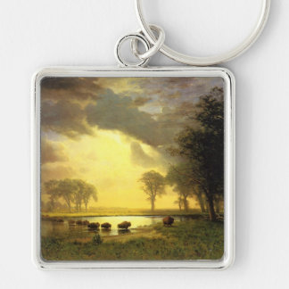The Buffalo Trail,  Albert Bierstadt Silver-Colored Square Keychain