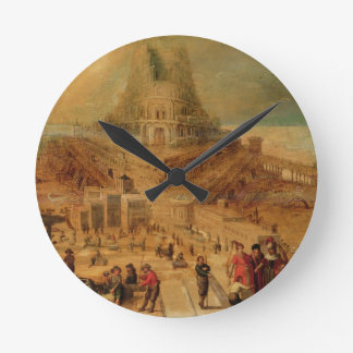 The building of the Tower of Babel (panel) Wall Clock