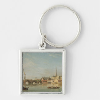 The Building of Westminster Bridge with an imagina Silver-Colored Square Keychain