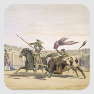 The Bull Following up the Charge, 1865 (colour lit Square Sticker