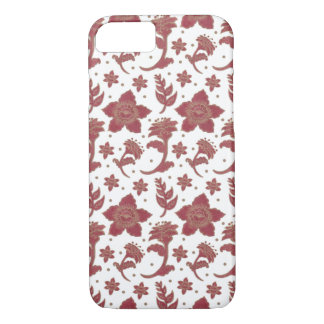 The Burgundy Batik Flowers iPhone 7 Case