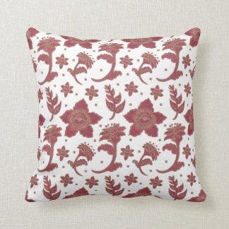 The Burgundy Batik Flowers Throw Pillow