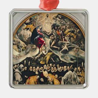 The Burial of Count Orgaz Silver-Colored Square Ornament