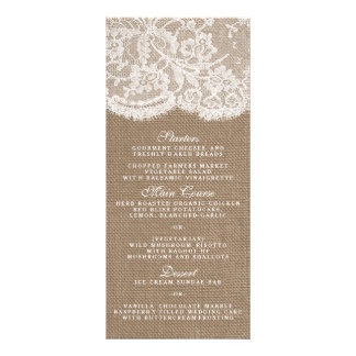 The Burlap & Lace Collection Menu Templates Custom Rack Cards