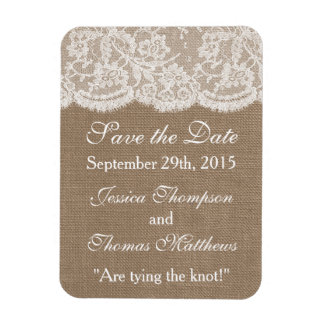 The Burlap & Lace Wedding Collection Rectangular Photo Magnet