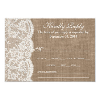 "The Burlap & Lace Wedding Collection RSVP Cards 3.5"" X 5"" Invitation Card"
