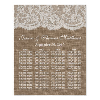 The Burlap & Lace Wedding Collection Seating Chart Poster