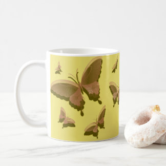 The Butterfly Coffee Mug, yellow, tan Coffee Mug