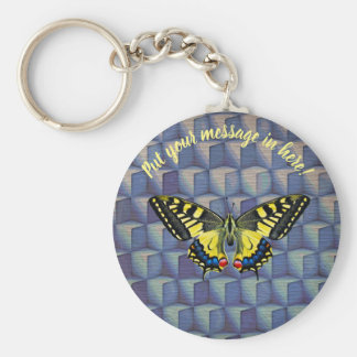 The butterfly in blue cubes keychain