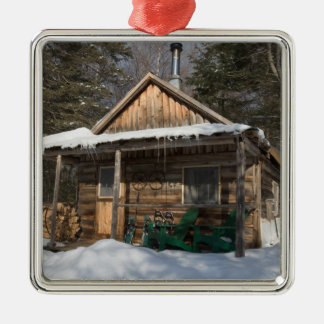 The cabins at the AMC's Little Lyford Pond Silver-Colored Square Ornament