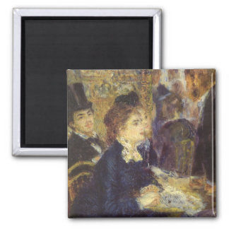 The Cafe by Pierre Renoir, Vintage Impressionism Square Magnet