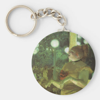 The Cafe Concert by Edgar Degas, Vintage Fine Art Basic Round Button Keychain