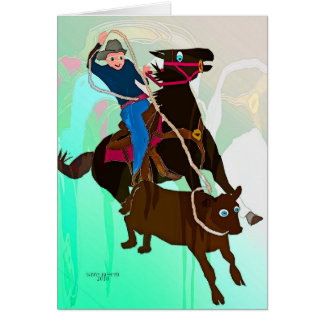 The Calf Roper-Whimsical Horse Collection Card