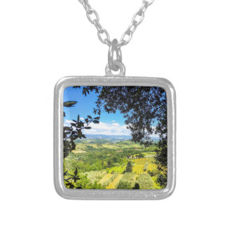 The Calm in Tuscany Photo Print Silver Plated Necklace
