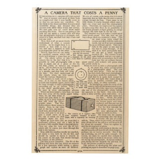 The Camera That Costs a Penny. 1911 Article Wood Wall Art