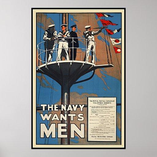 The Canadian Navy Wants Men Vintage WW2 Print