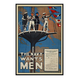The Canadian Navy Wants Men Vintage WW2 Print
