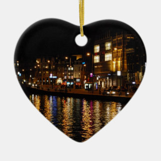 The Canals of Amsterdam at Night Ceramic Ornament