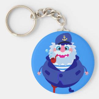 The captain basic round button keychain