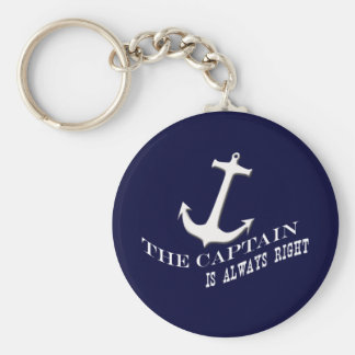 the captain is always right basic round button keychain