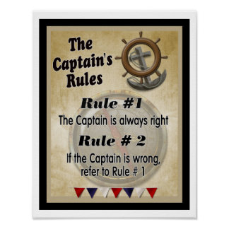The Captain's Rules -- Art Print - poster
