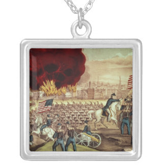 The Capture of Atlanta by the Union Army Silver Plated Necklace