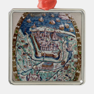 The Capture of Calais by the French in 1558 Silver-Colored Square Ornament