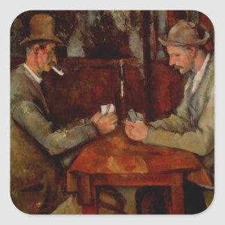 The Card Players, Claude Cezanne Square Sticker