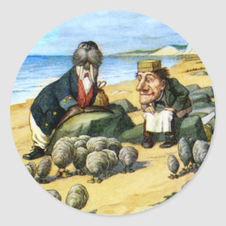 The Carpenter and the Walrus Consider Oysters Round Sticker