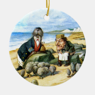 The Carpenter and the Walrus in Wonderland Round Ceramic Ornament
