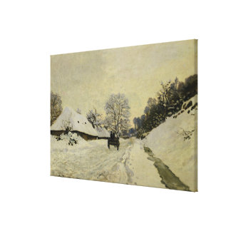 The Cart, or Road under Snow at Honfleur, 1865 Canvas Print