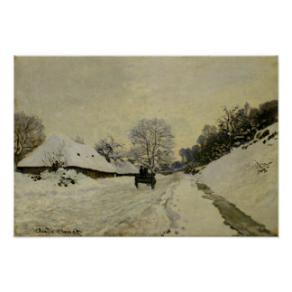 The Cart, or Road under Snow at Honfleur, 1865 Poster