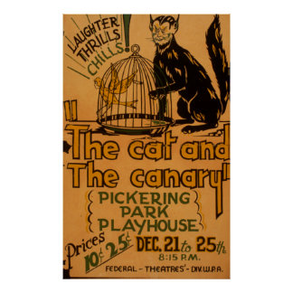 The Cat and The Canary Vintage 1940 WPA Poster