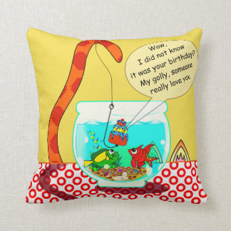 The Cat And The Fish Bowl Pilllow Throw Pillow